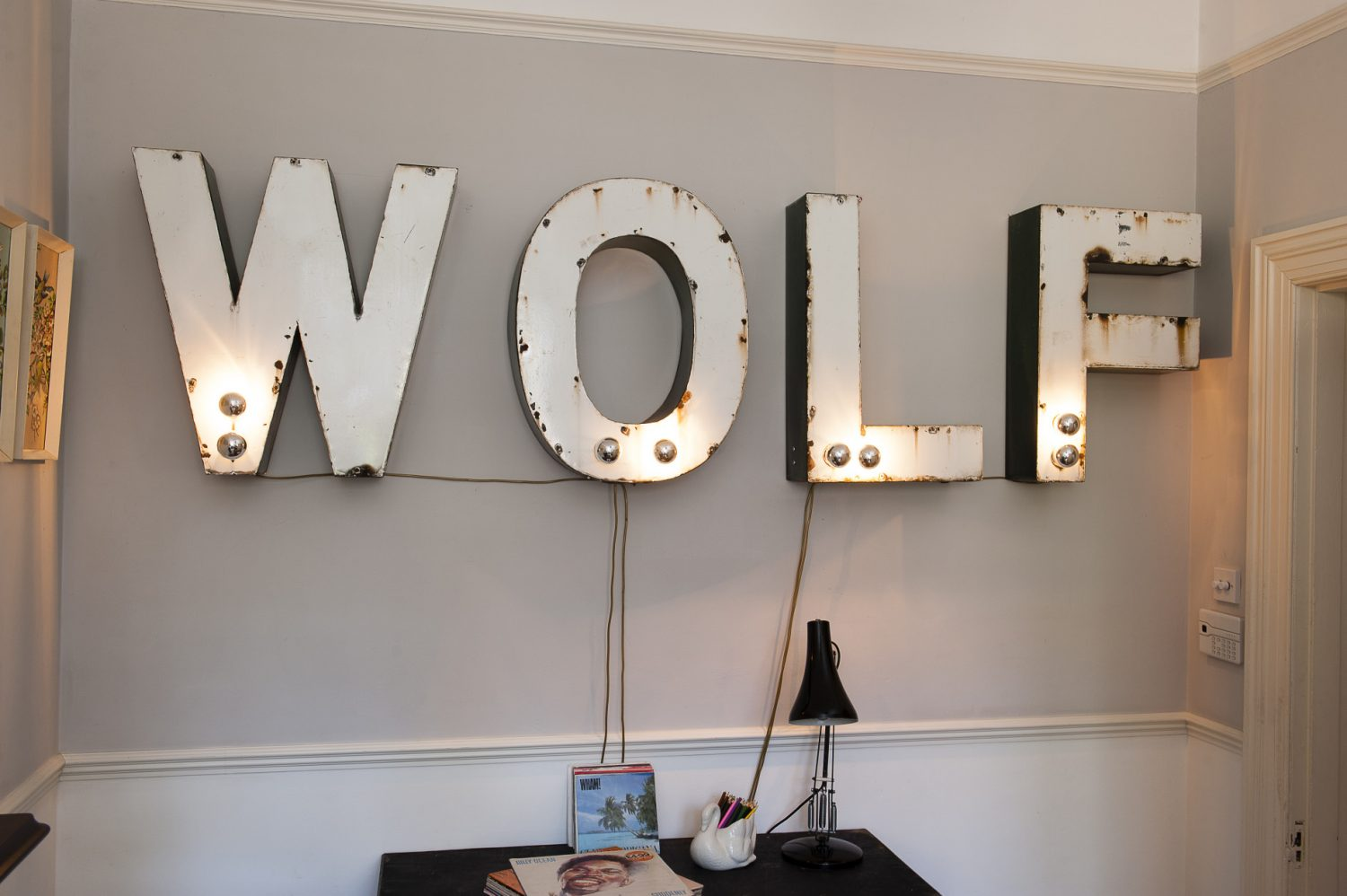 Stuart found the letters which spell out 'wolf' at McCully & Crane