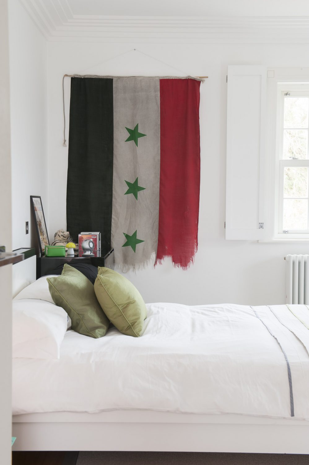 The couple's three boys are also avid collectors of exotic artefacts, including this original Iraqi flag – on display in one of the boy's bedrooms