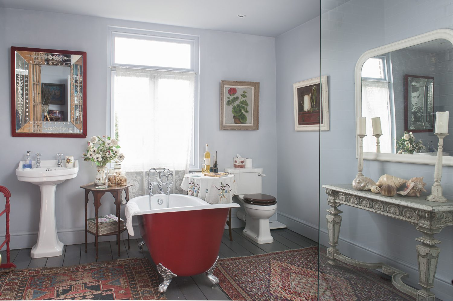 The main bathroom was not designed as a bathroom, as such, but was simply another room to which Emma could introduce beauty and interest, though it does include a luxurious roll-top bath and space-age walk-in shower