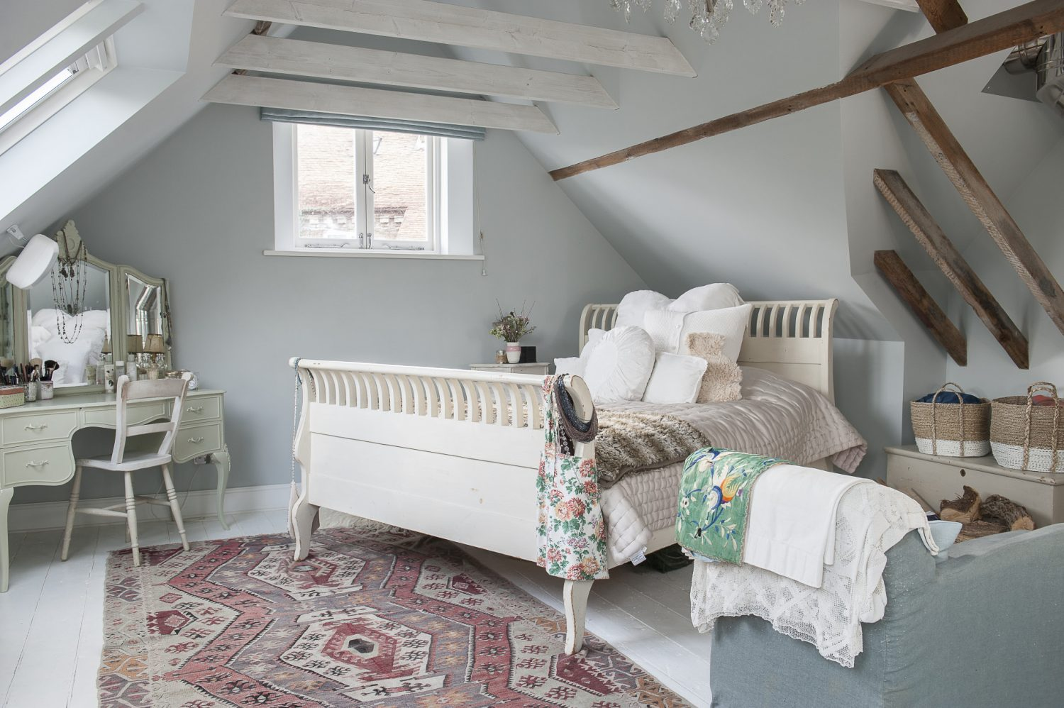 Emma's own bedroom one might expect to be something special and, of course, it is. It started life as the hayloft above what is now the drawing room