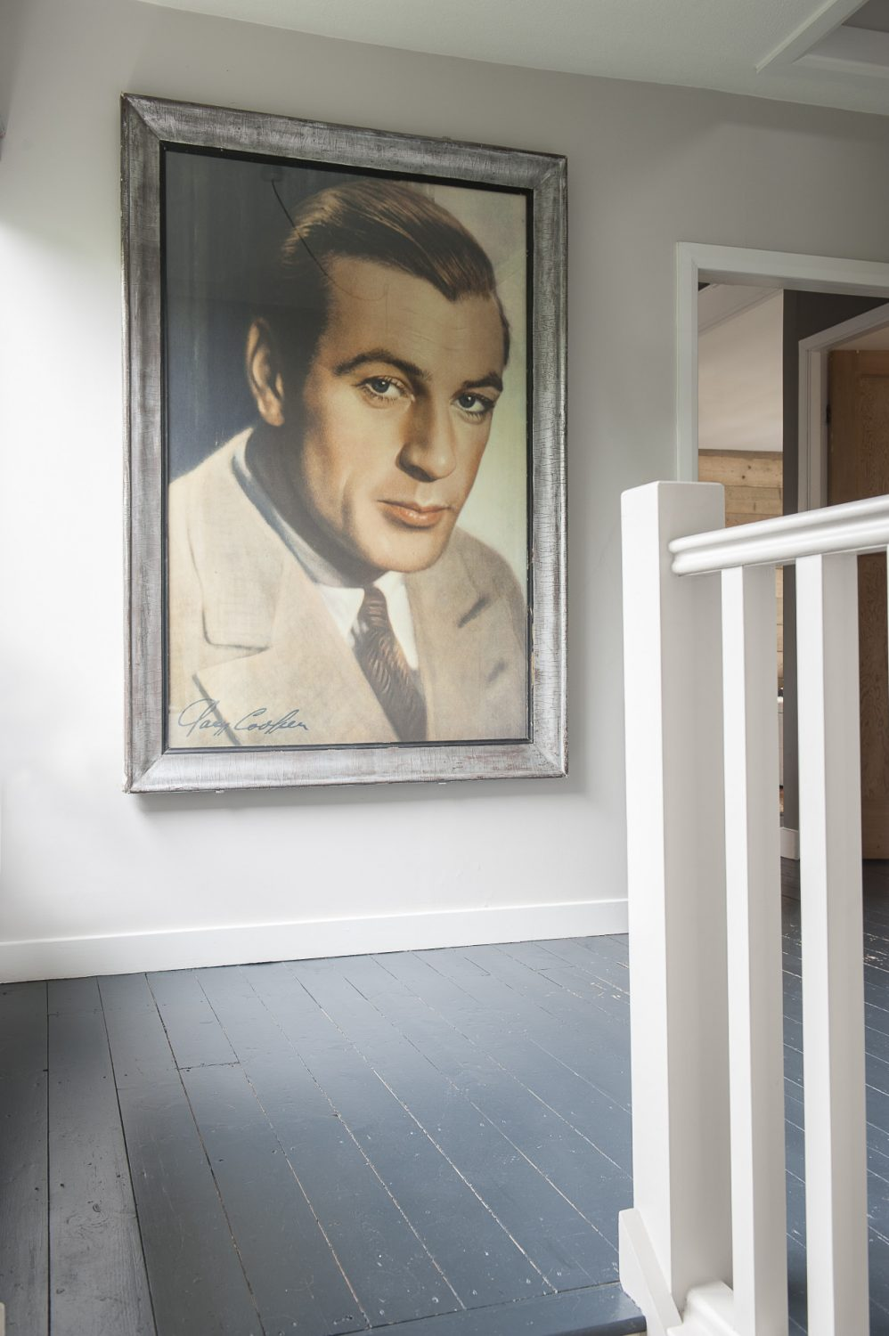The four-foot-high framed poster of Gary Cooper is from McCully & Crane