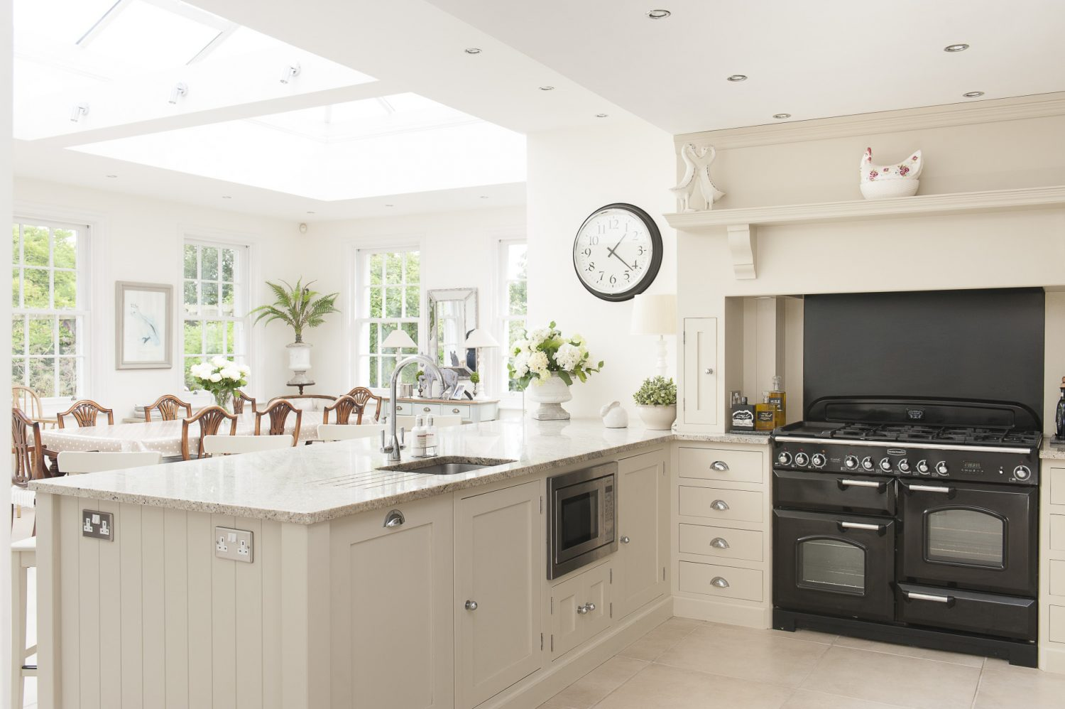 The kitchen has been extended to include a spacious orangery