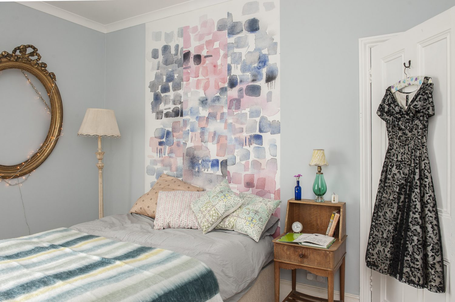 The wallpaper over the bed is a work in progress for a new line Miss Match, which Louise will hand finish with metallic leaf. The bedside table is another Hastings Old Town find
