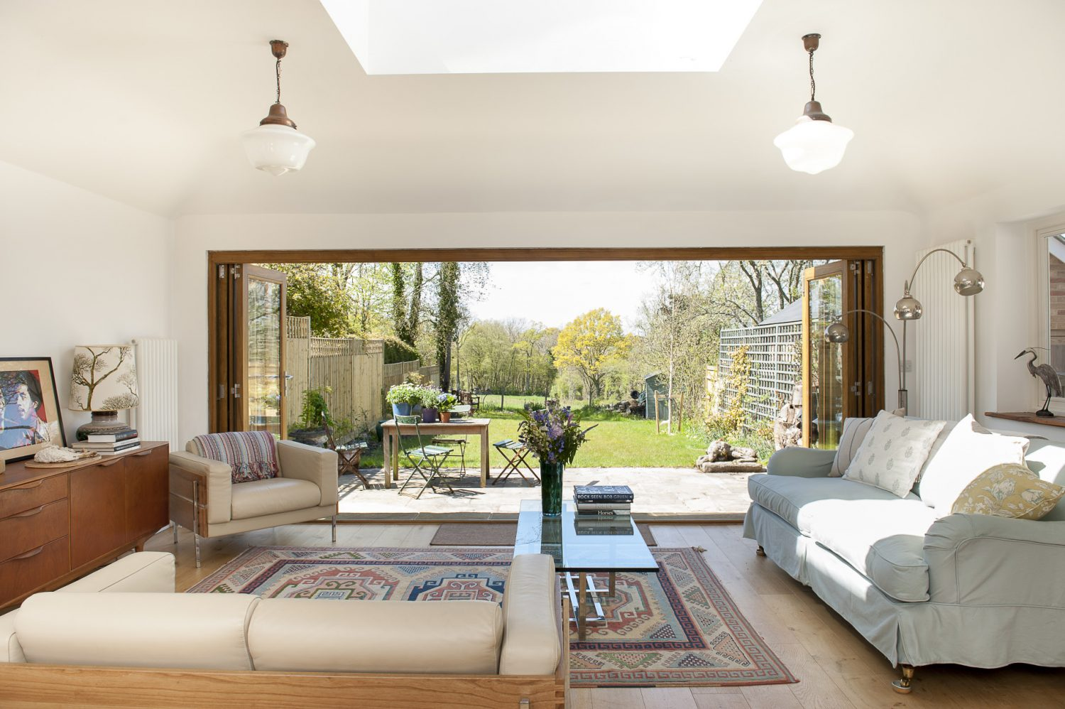 The back of the house has been knocked through to create a huge bright, open-plan kitchen and living area