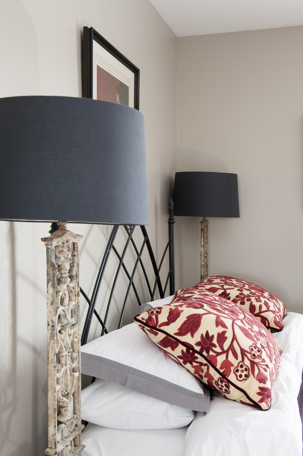 Rich fabric cushions and faux furs are used to dress up and add a touch of luxury to each of the guest rooms – while walls have just a picture or two