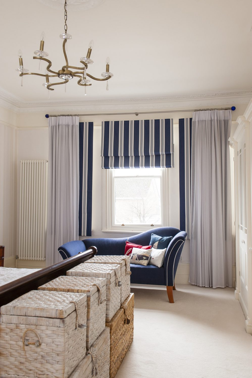 The master bedroom is one of the few places where, if you look very carefully at the sash windows, you can see where the doodlebug shifted the house
