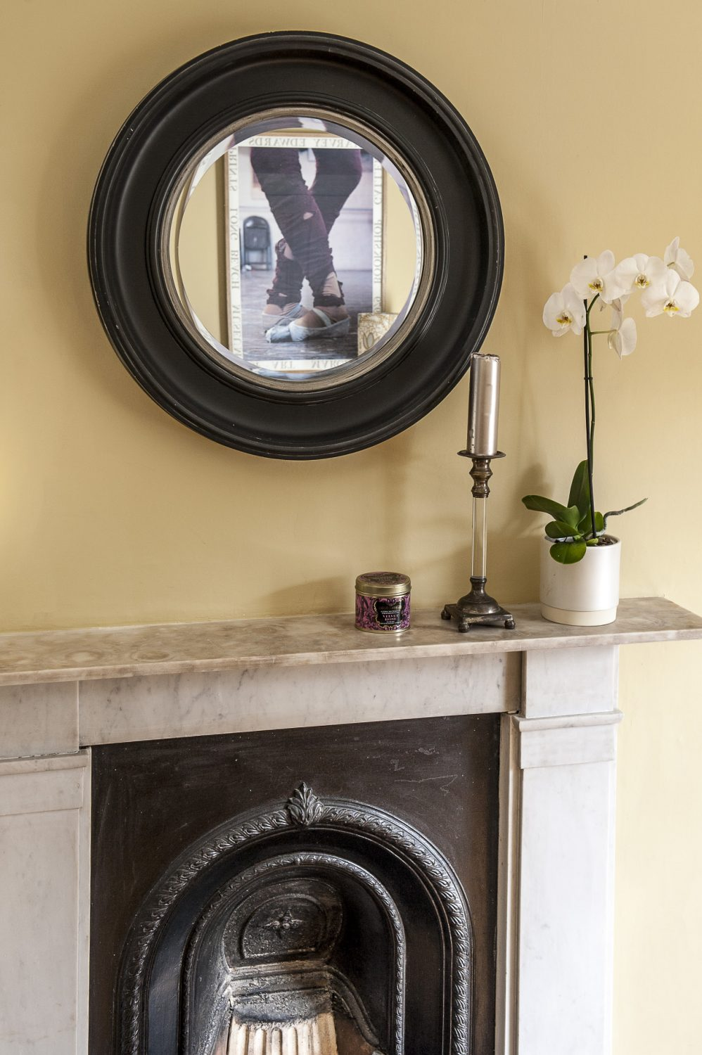 The marble fireplace in one of the spare rooms