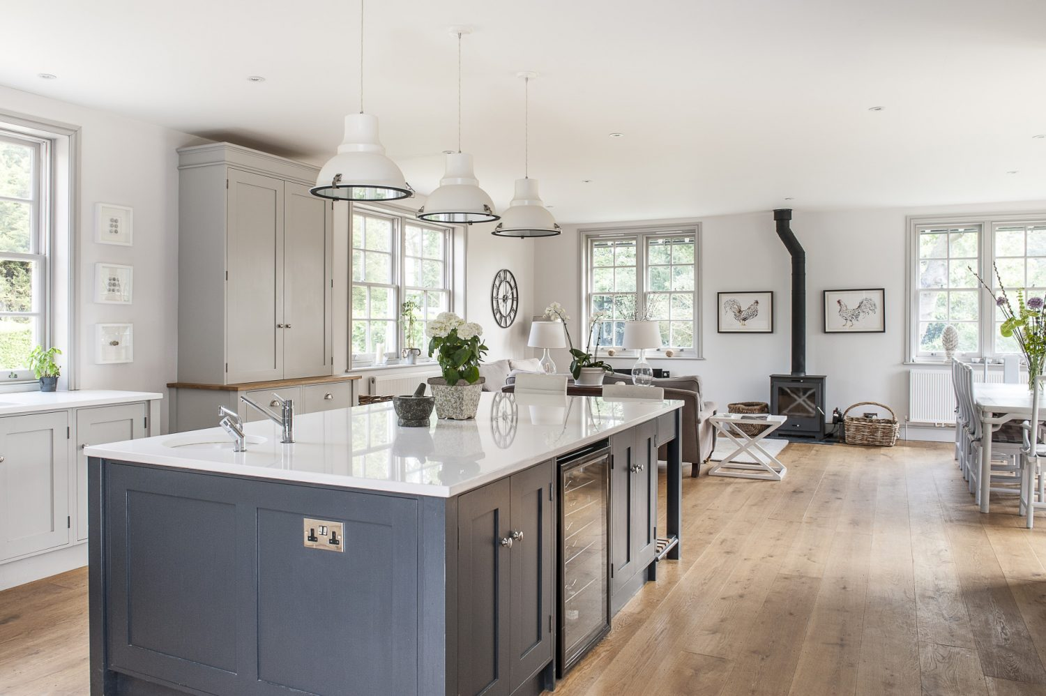 The large, open plan kitchen is now one of the most important rooms in the house and where the family spends most of their time