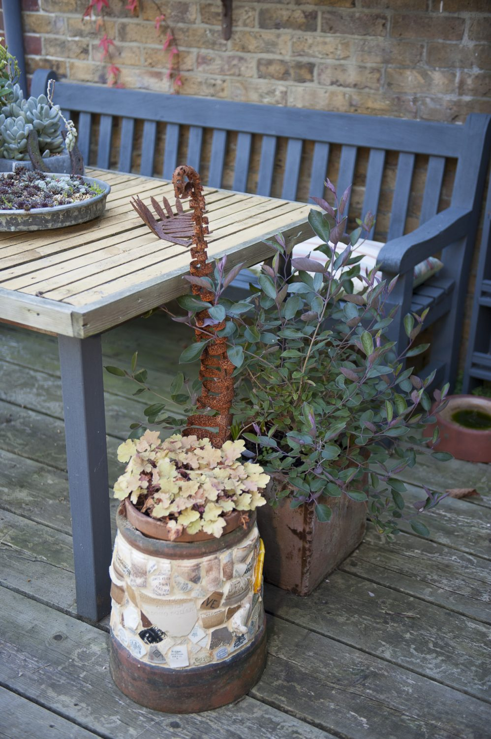 The decking area was made using reclaimed scaffolding boards