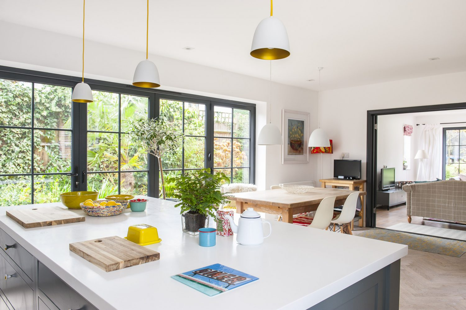 The kitchen space was once three rooms and a corridor, but is now open-plan light and airy