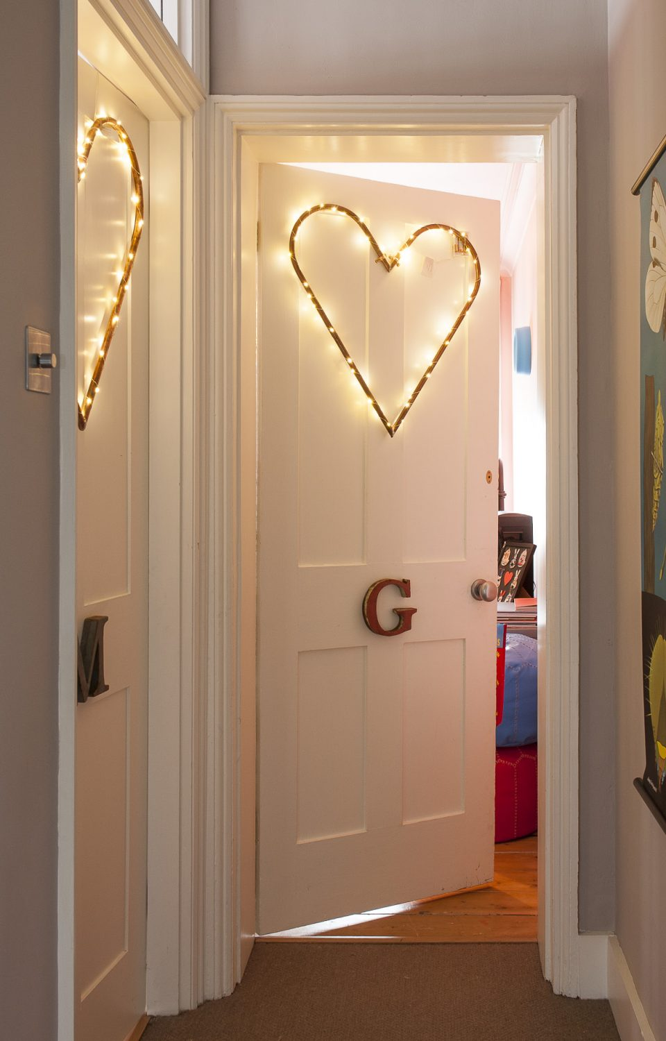 The landing leading to the girls' bedrooms is where Justine says you enter the fun part of the house