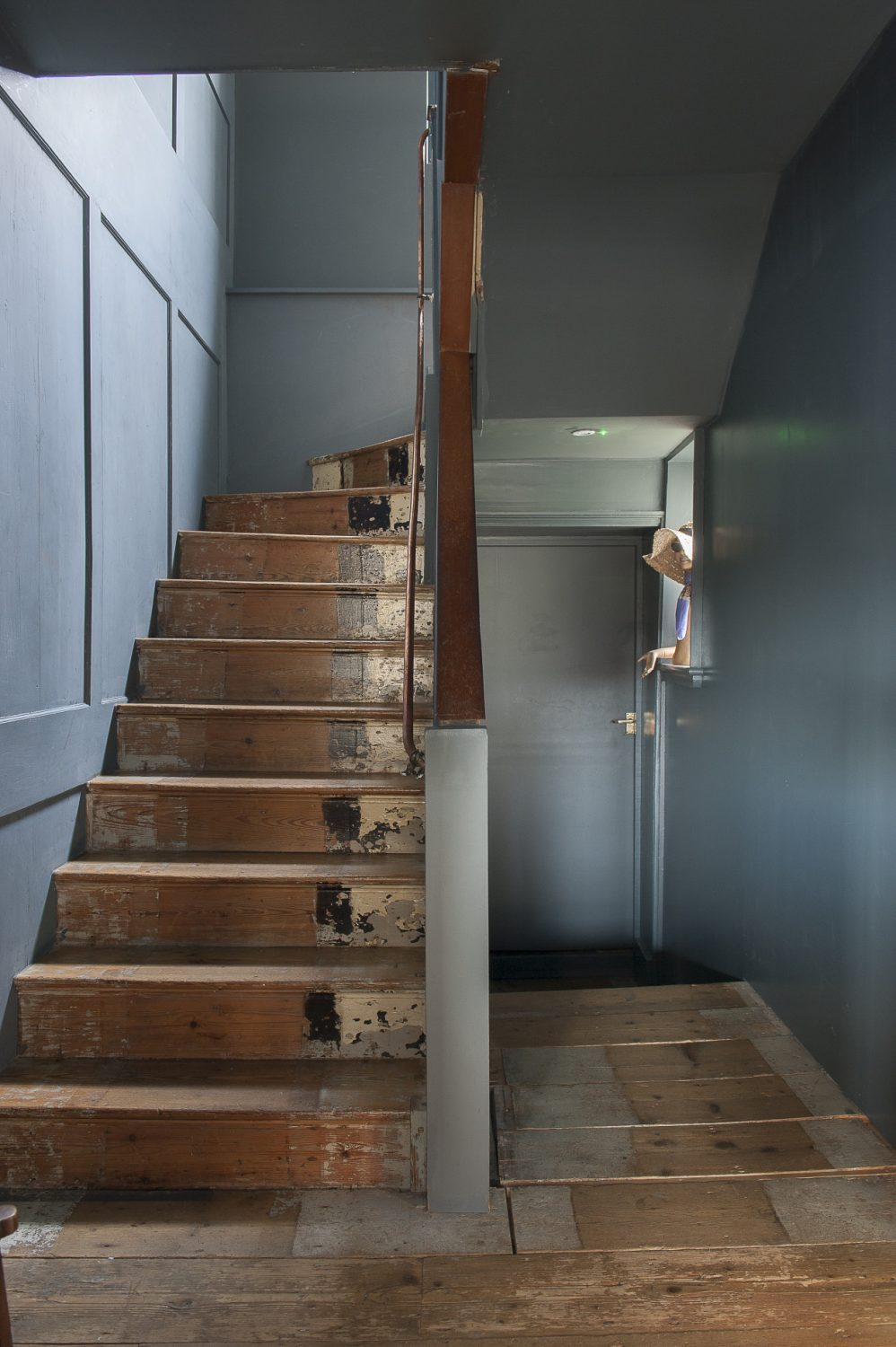 The carpets have been removed throughout, to leave characterful, marked floorboards which fit perfectly with the original panelling on the stairwell