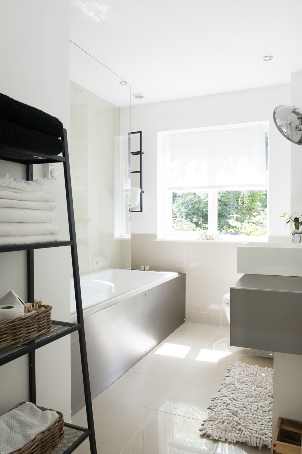 Light pours into another guest bathroom