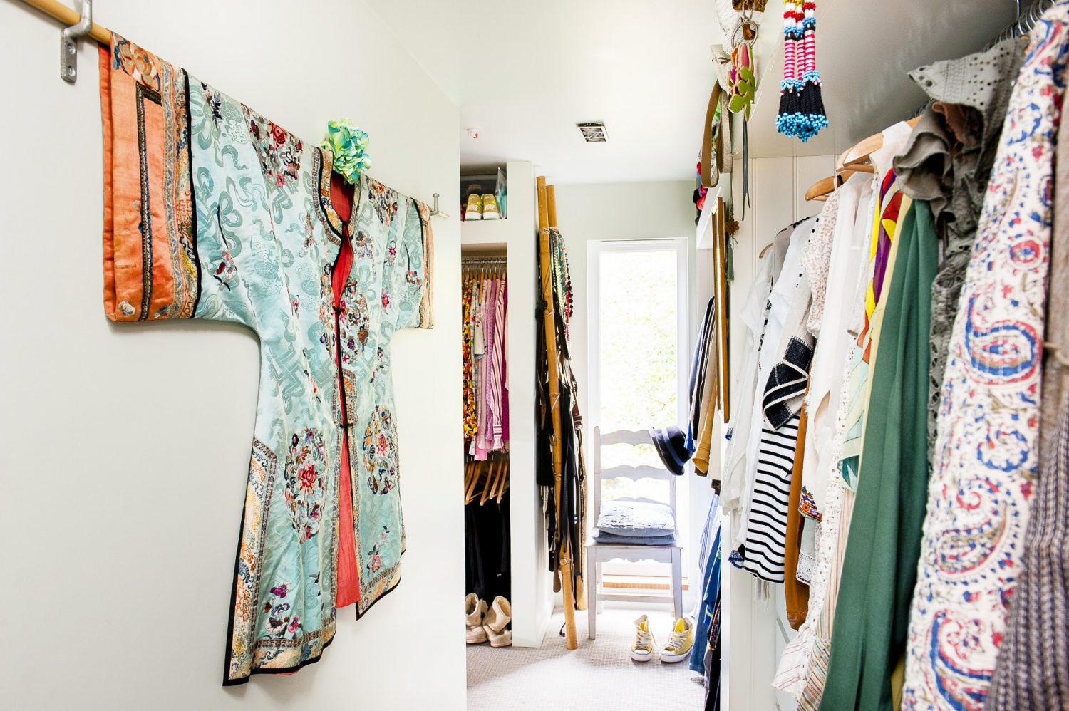 A kimono hangs on the wall of the dressing room