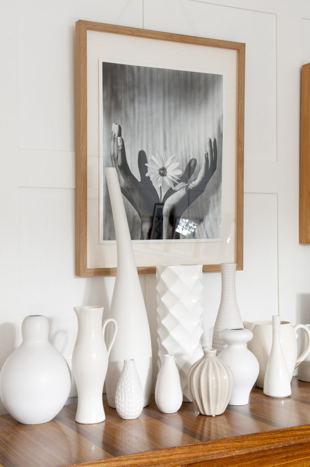 A collection of white vases