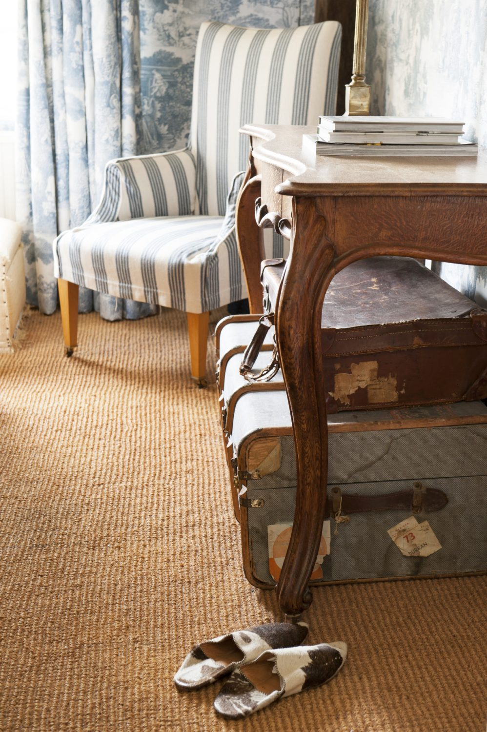 Well-travelled antique suitcases
