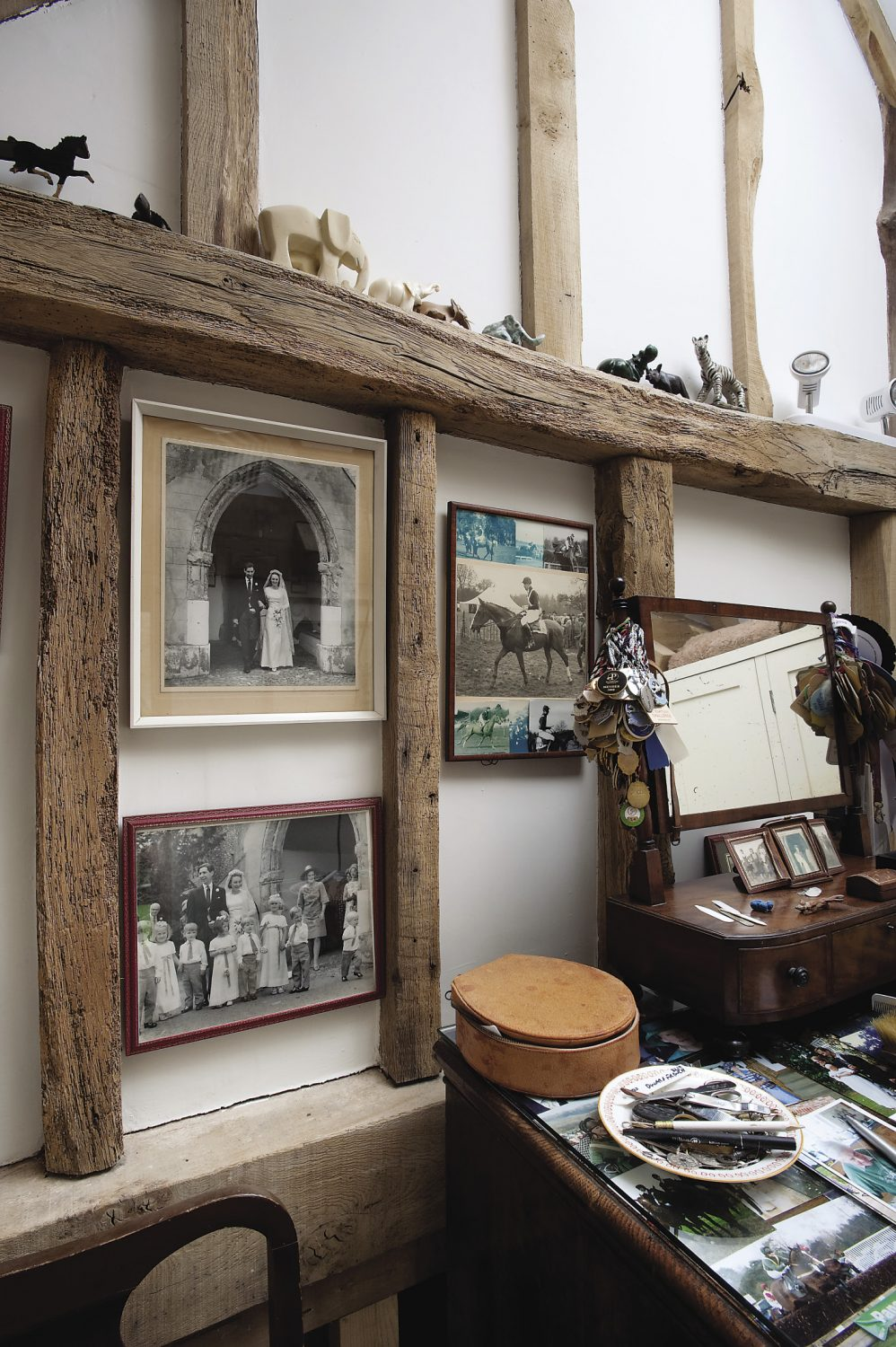 Steven's dressing room. Dotted about the house are black and white photographs of the family