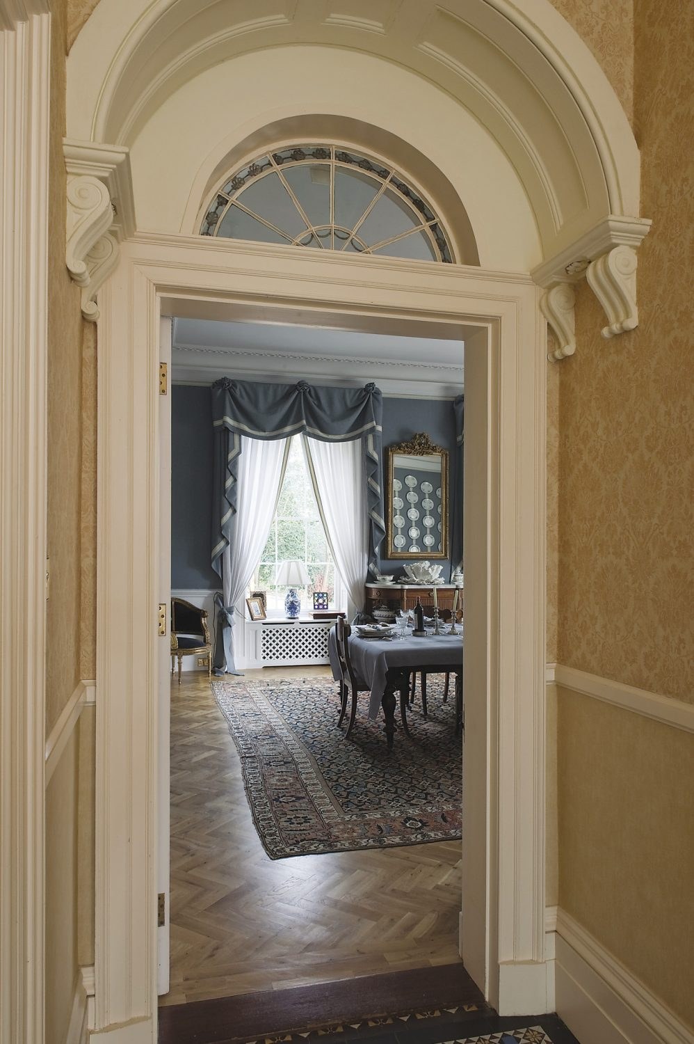 the view into the dining room from the hallway