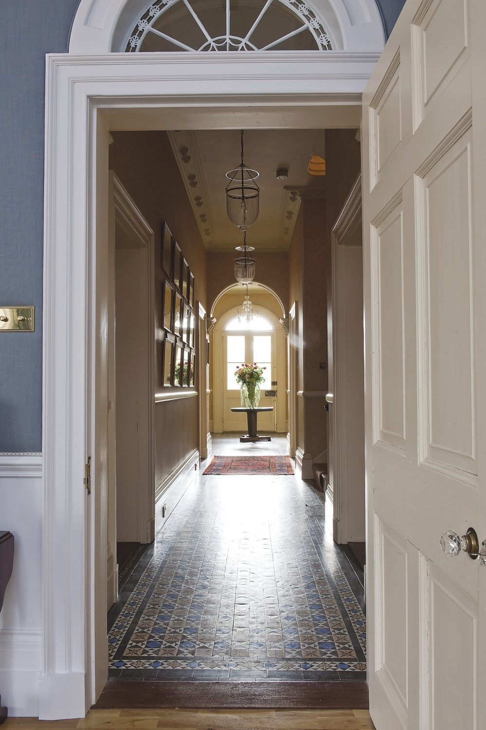 the beautifully tiled hallway