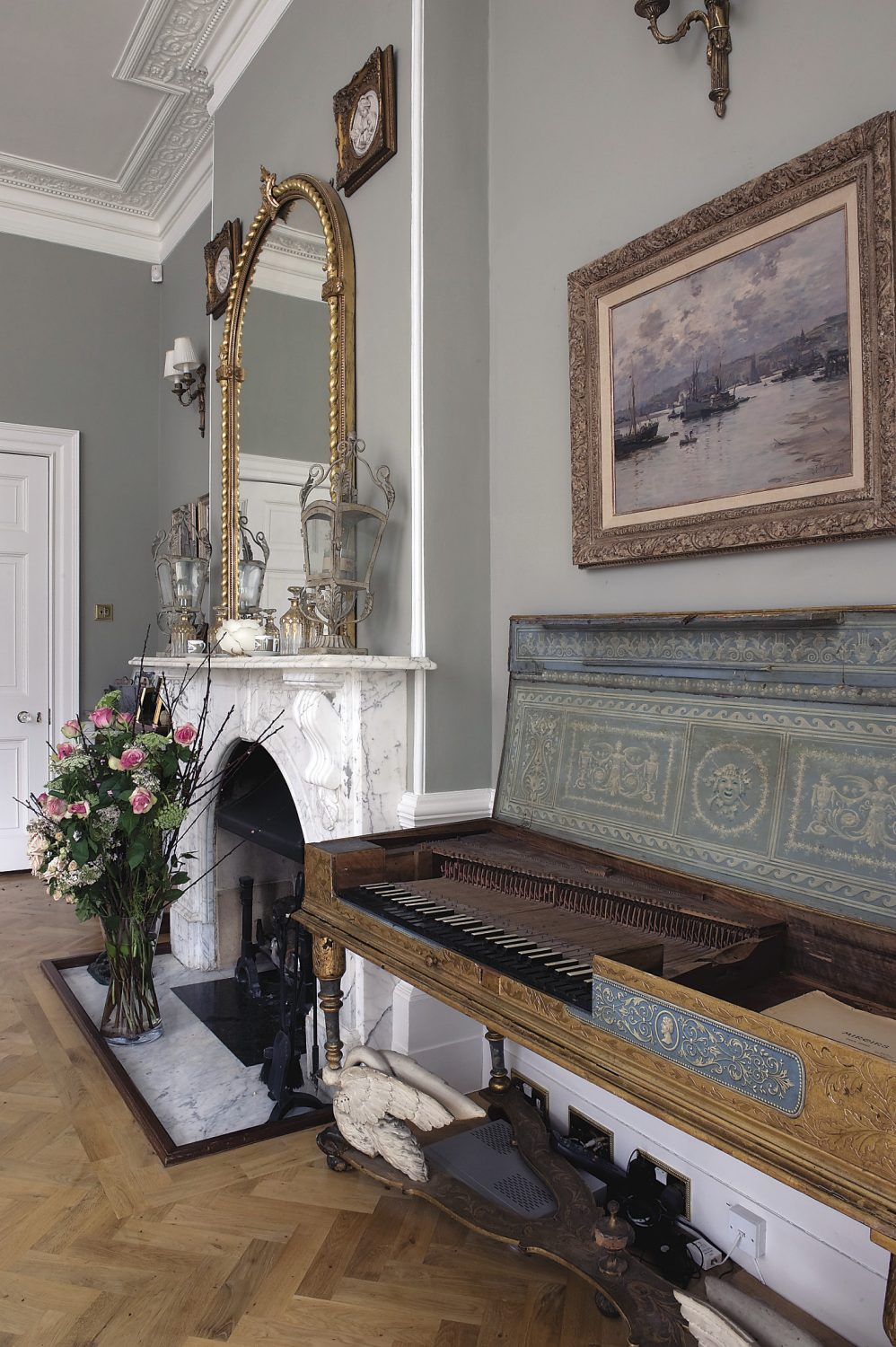 The exquisite eau de nil and gilded square piano, one of many in Theodora's collection of antique pianos, was bought from David Winston at the Period Piano Company