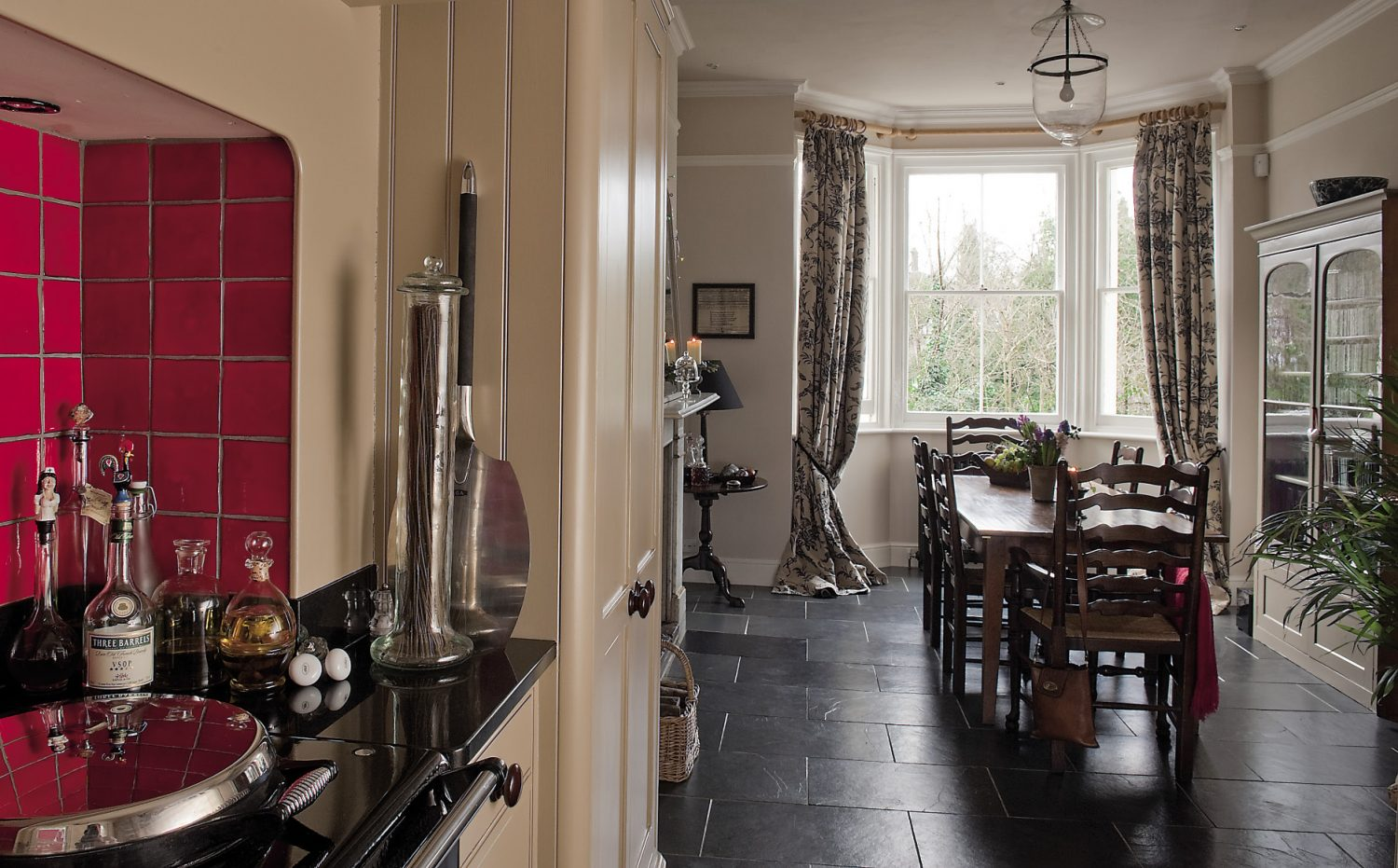 """Brad and Sally removed the wall that previosuly separated the kitchen and dining room: """"I think the space works really well,"""" says Sally. """"It's lovely to be able to cook and chat to our guests at the same time."""""""