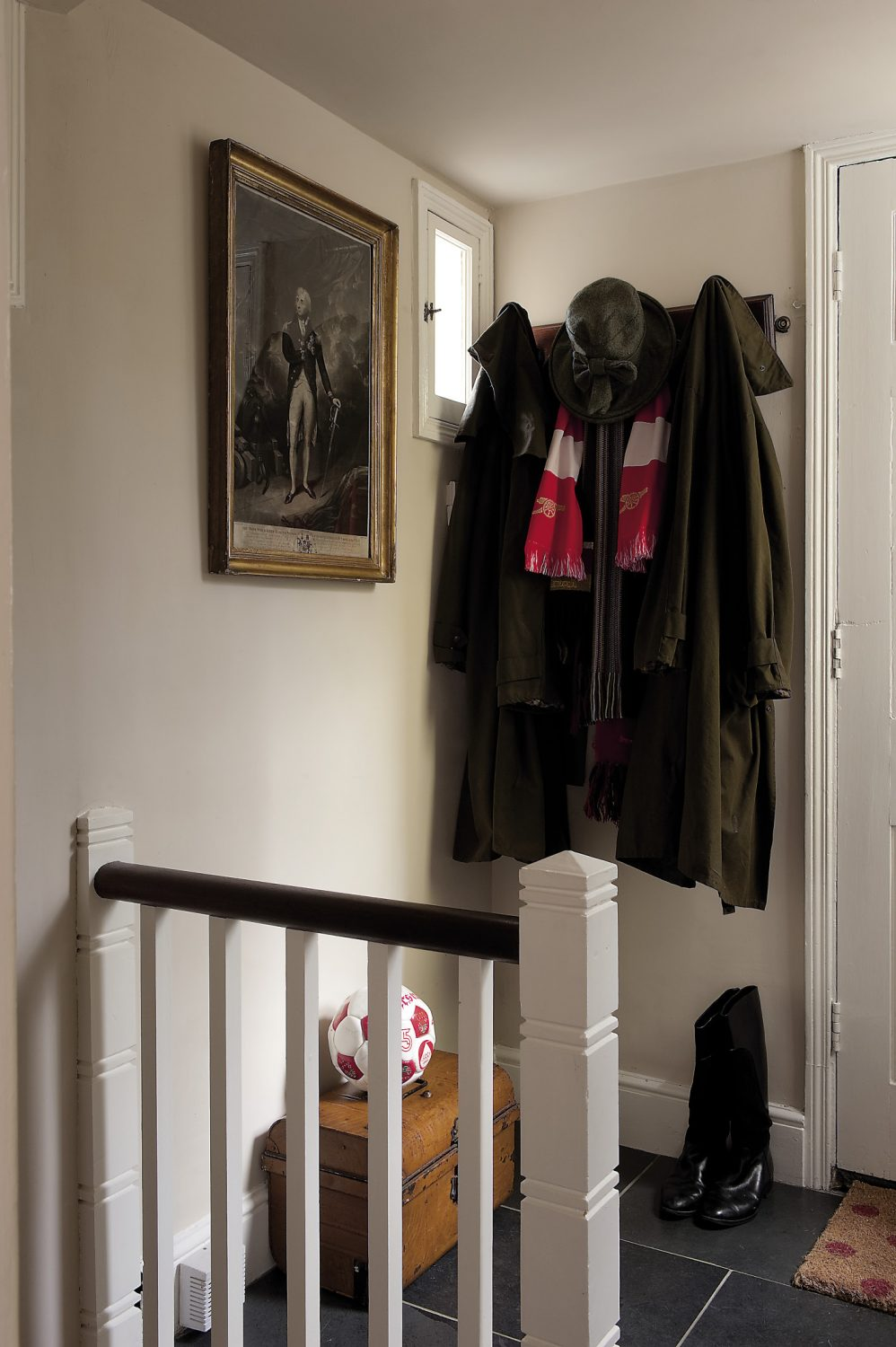 On entering through the front door, you arrive on the first floor of the house's five levels