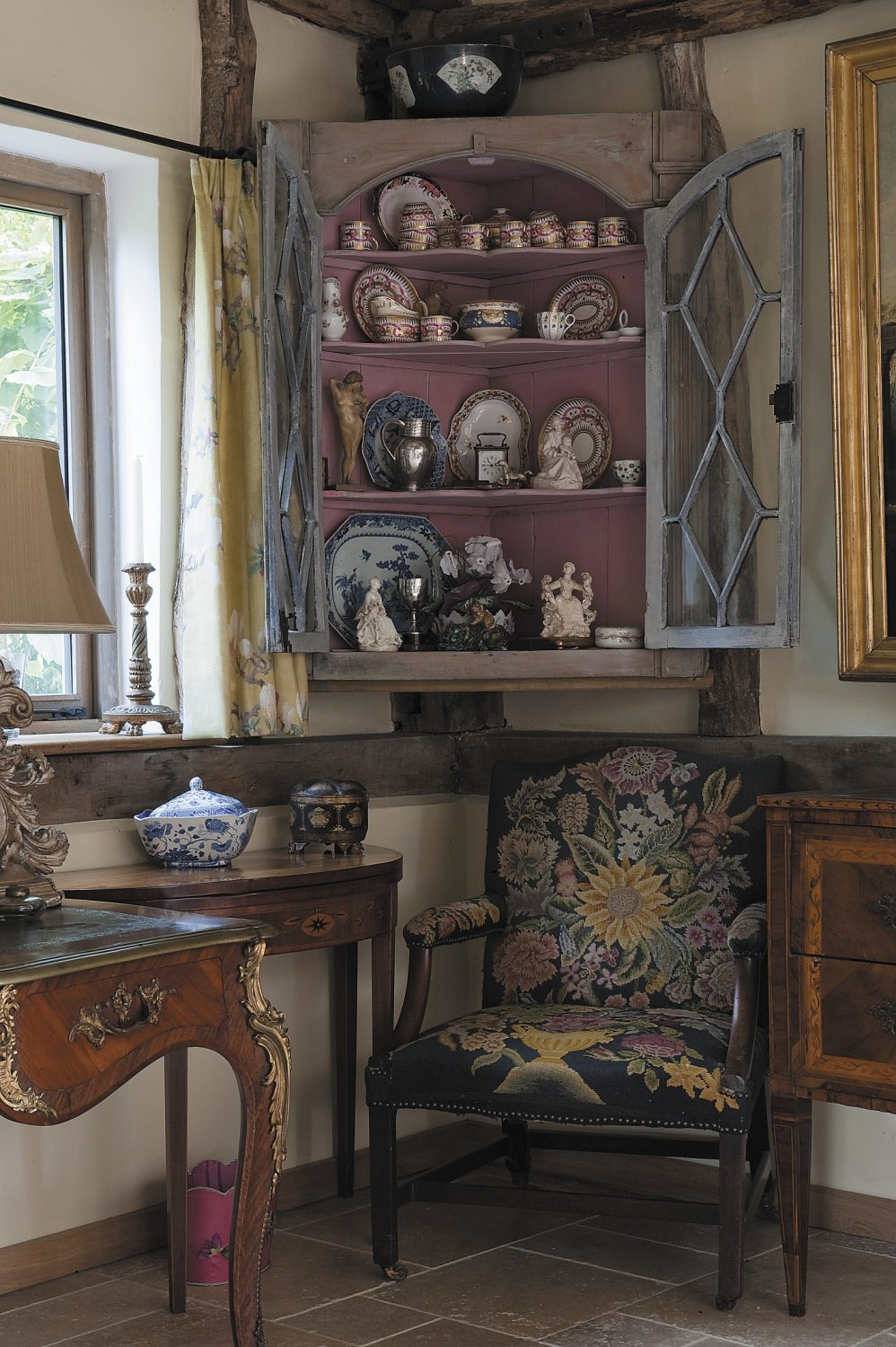 the barn is furnished largely with beautiful possessions much loved through the centuries