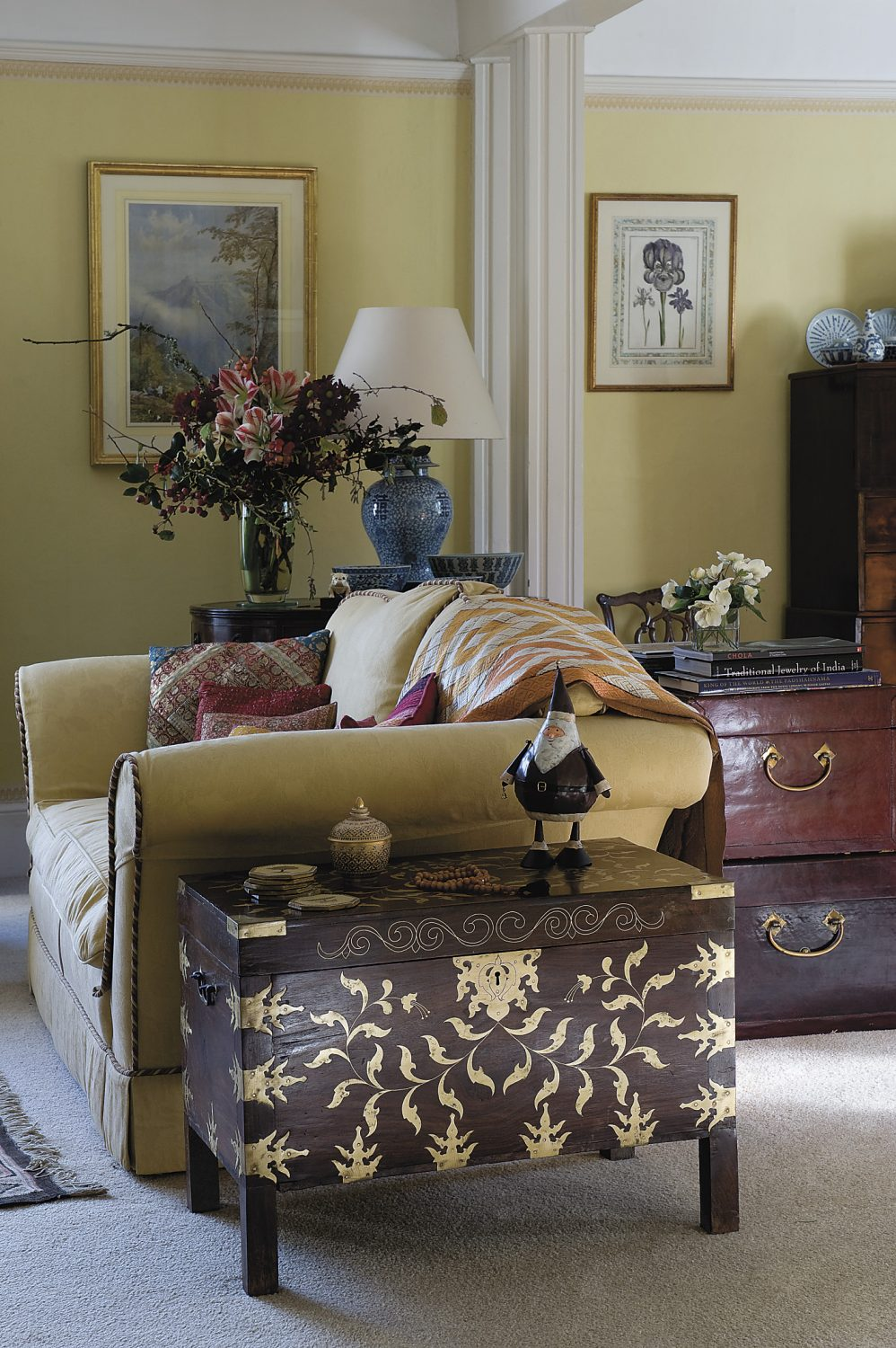 wooden chests in the drawing room were brought back from the family's travels