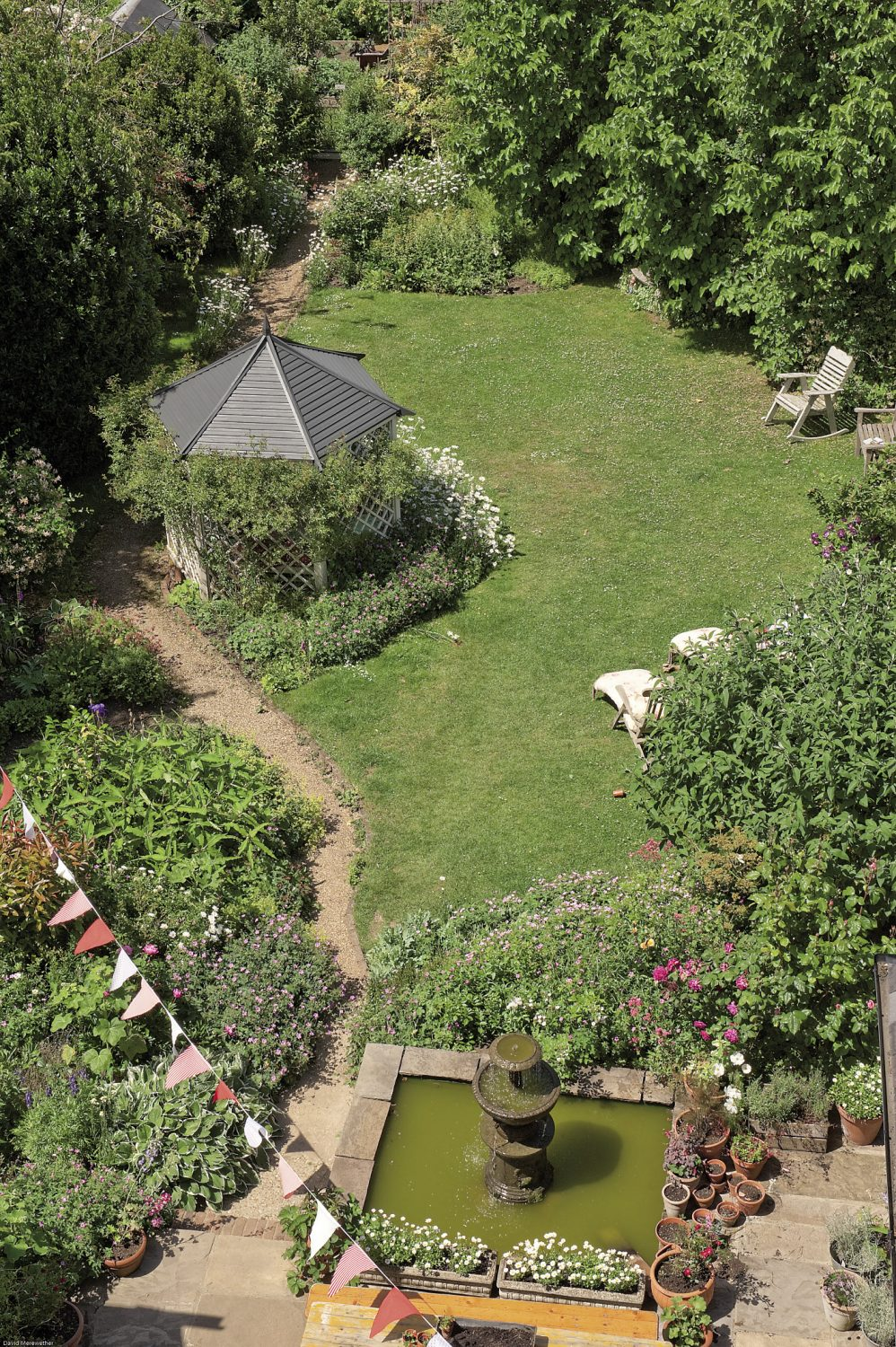 The garden offers yet more opportunities for entertaining and is still decorated with bunting from a recent crafts fair that Pippa staged in aid of a local hospice