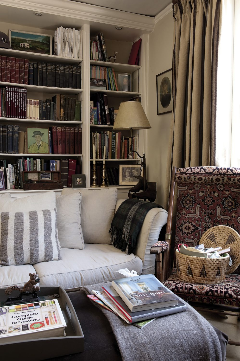 """Behind the drawing room sofa is a pair of double doors that Pippa draws back to reveal the private sitting room. """"This is a great place to read or sew,"""" says Pippa. """"Our guests can use the drawing room, but it's nice to have somewhere that we can retreat to now and then."""""""