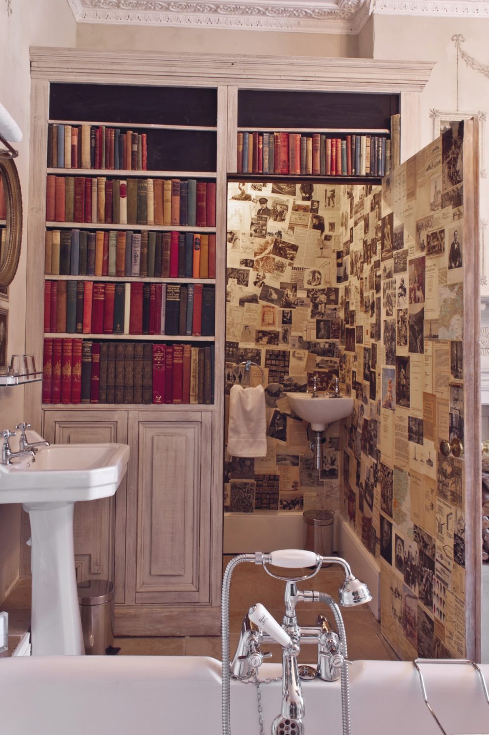 The hidden loo with walls papered with the pages of book