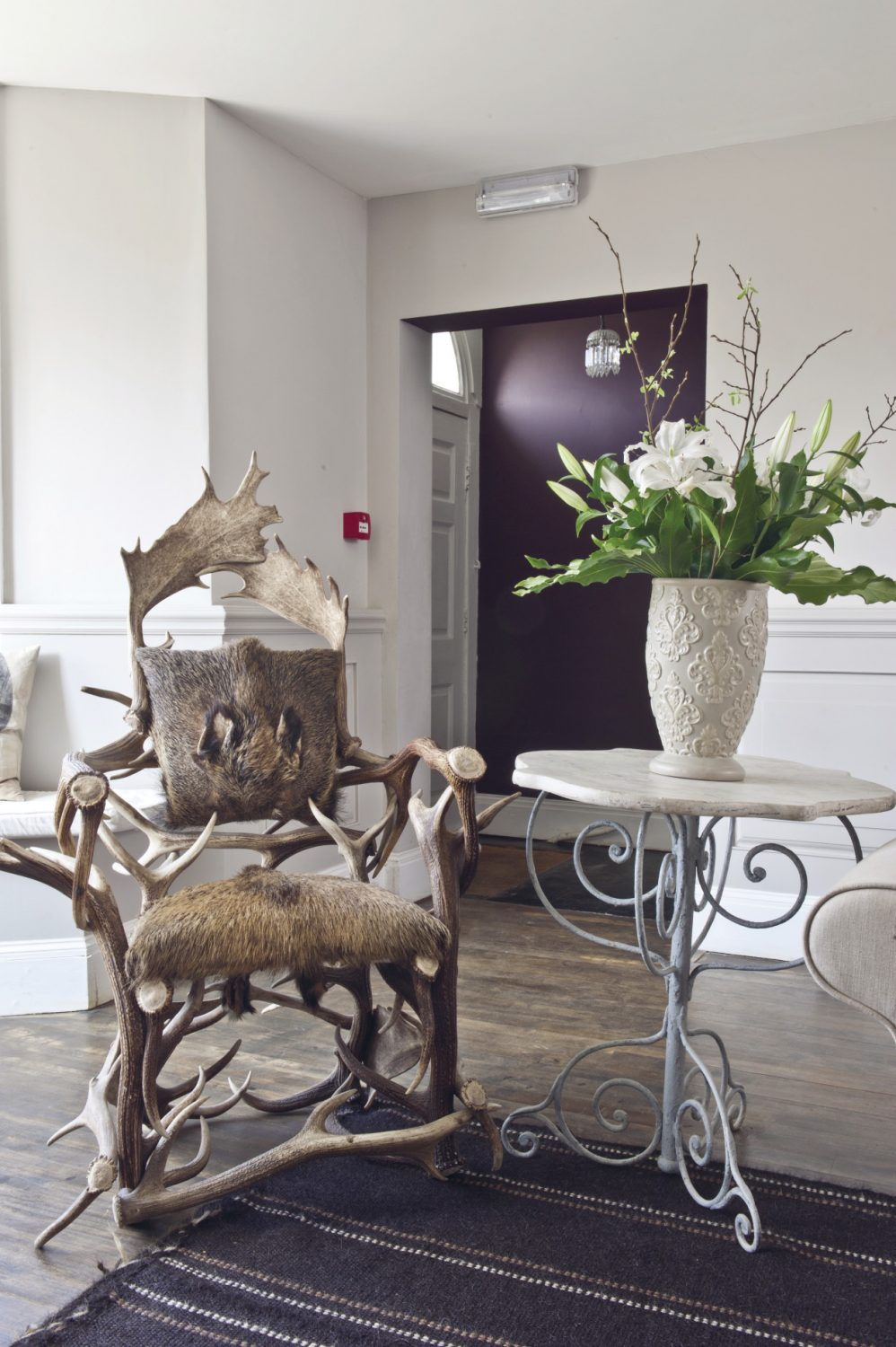Taking centre stage in the Reception Lounge is The Stag Chair – a mad concoction of antlers, hide and hooves
