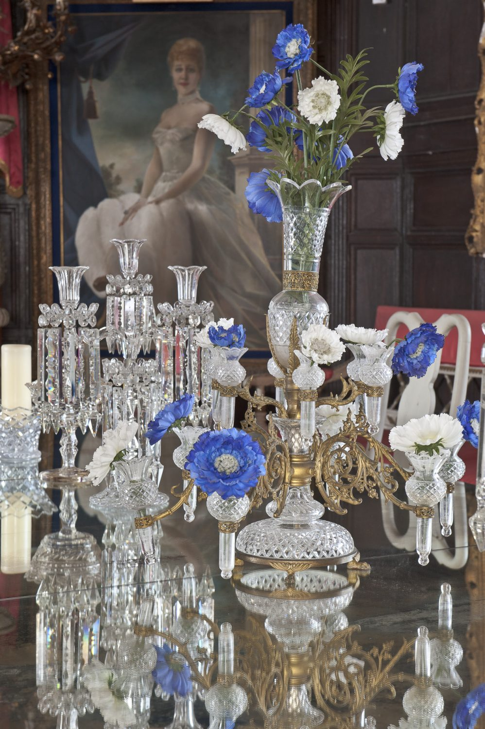 The mirrored table top in the Oak Room produces a wonderful effect when the candelabra are lit and the epergne filled with flowers
