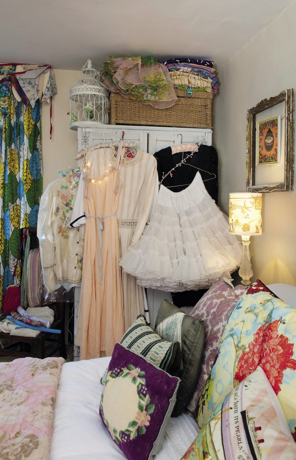 the guest room, but with so many vintage clothes and accessories on display is really more of a 'boudoir'