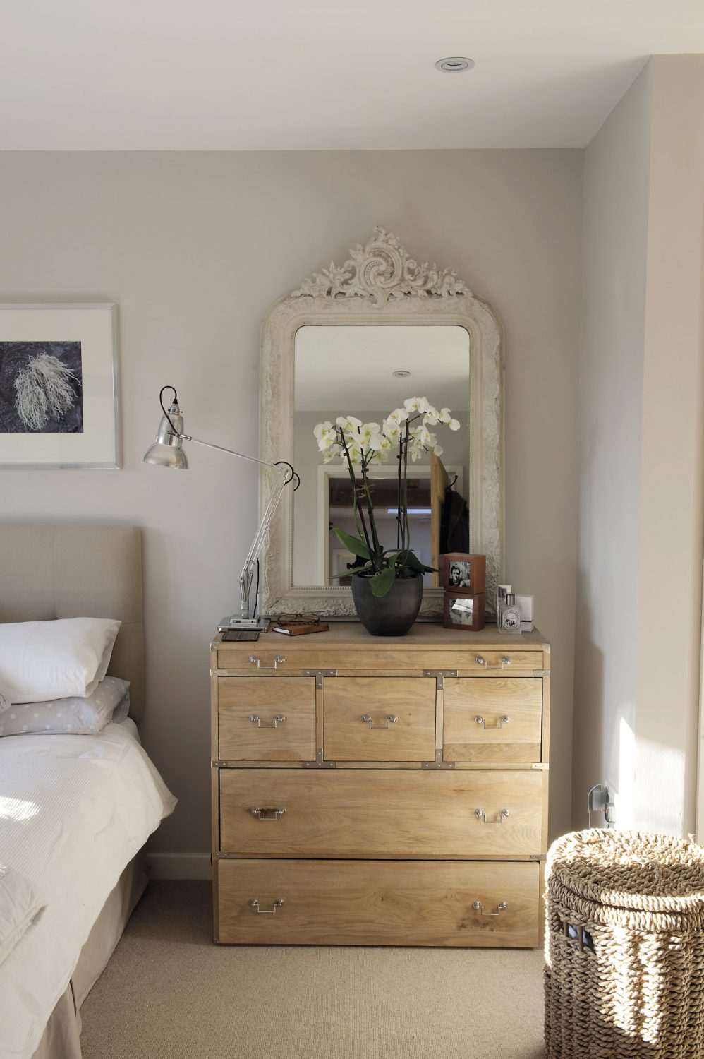 On the wall is a large and superb 1860's French mirror