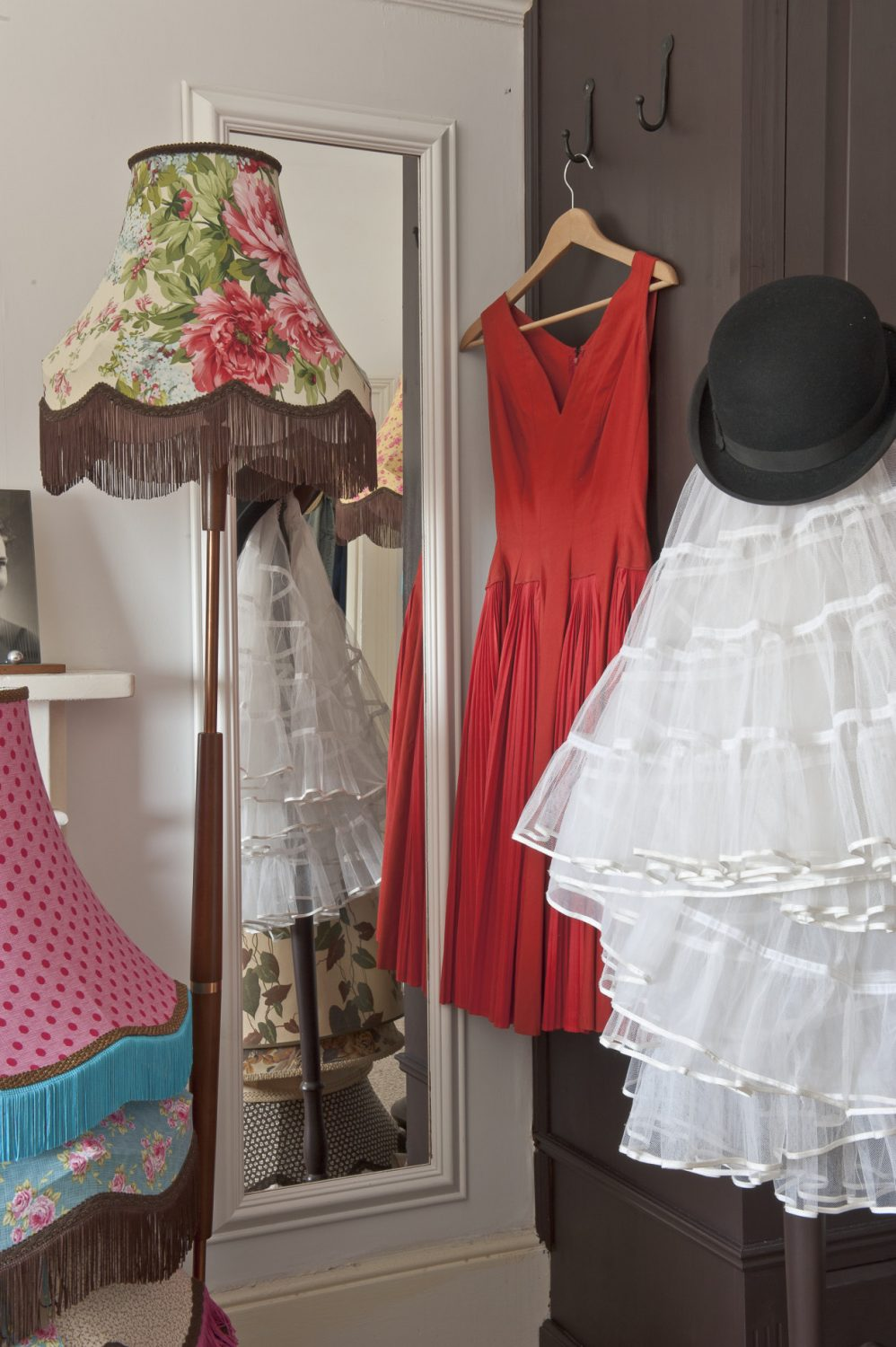 """Charlotte's workroom. """"I got some bespoke commissions as a result of the Wealden Times Midsummer Fair,"""" explains Charlotte. """"People sometimes bring me their own shades and fabrics so I can make them to suit their existing décor, which I'm also happy to do."""""""