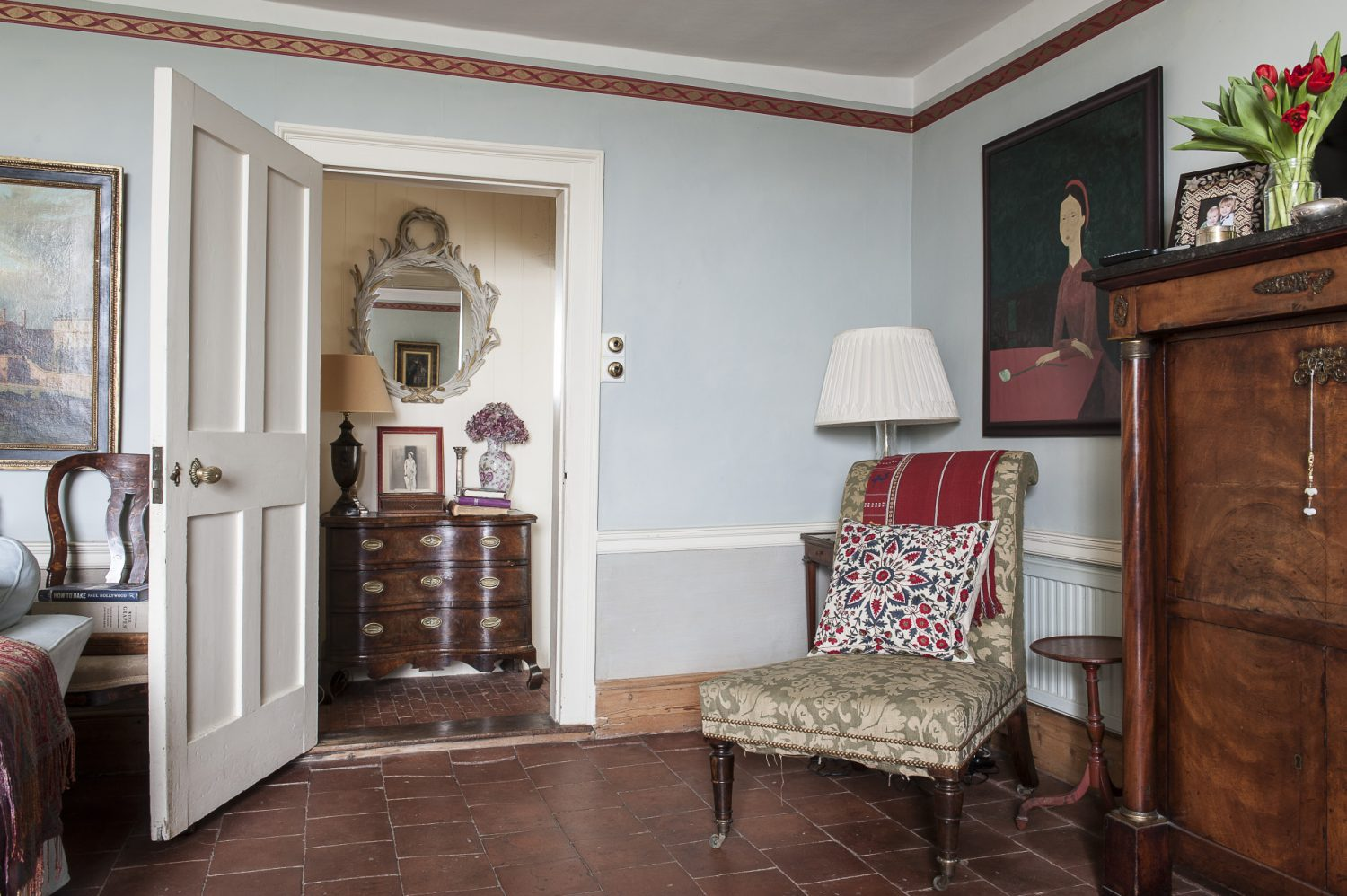 And so well was the property renovated that there was little to do but to make it their own which largely consisted of a lick of Farrow & Ball and the import of some cherished pieces either inherited from the couple's parents or collected from antique and junk shops over the years...