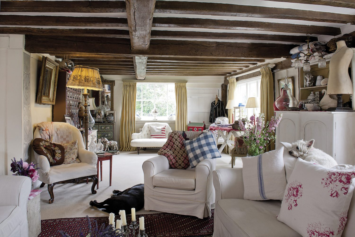 The sitting room. Throughout the house, Madeline has managed to create carefully contrived arrangements and collections of quirky objects: everything from shoes to shopping bags