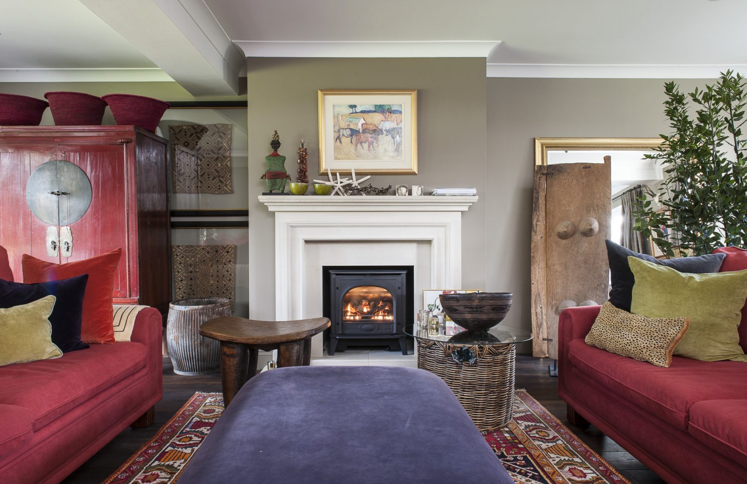 The drawing room is at once spacious and intimate with echoes everywhere of the couple's South African roots