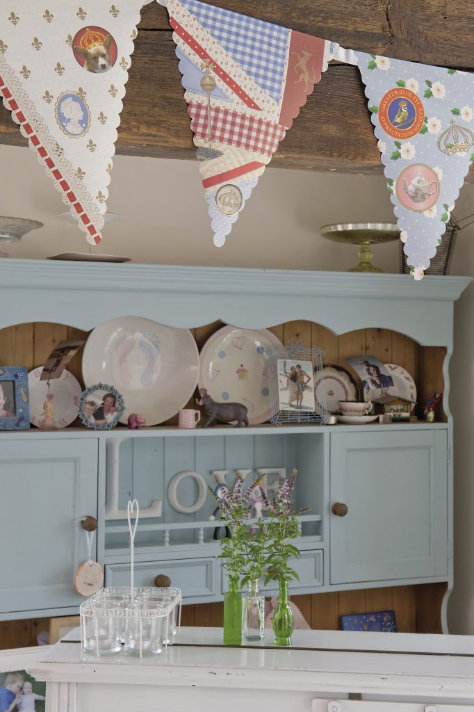 Bunting hangs in the kitchen