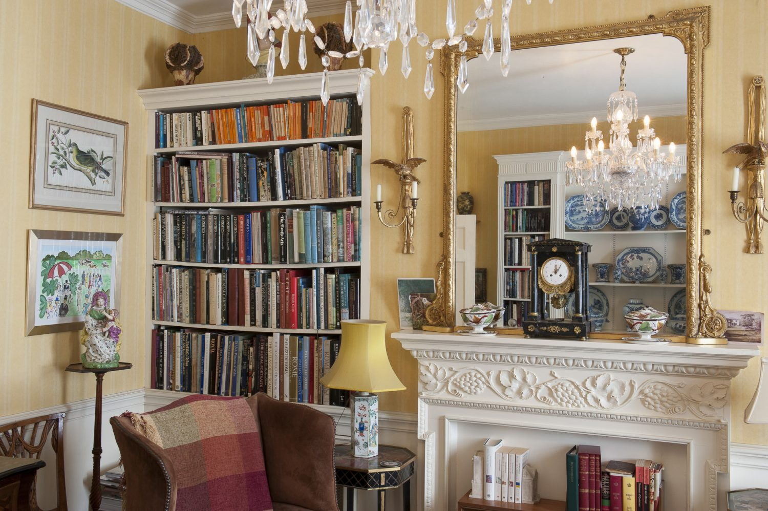 The morning room on the first floor is filled with books and periodicals for guests to browse