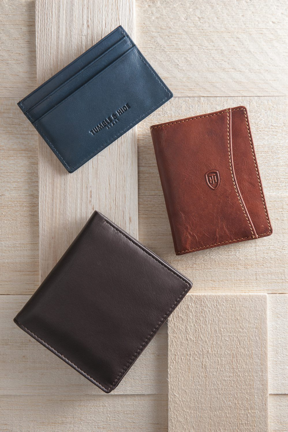 Tumble & Hide leather credit card holder, £21, leather travel pass holder, £19, 1642 two-fold leather wallet, £15, County Clothes, Canterbury 01227 765294 / Tenterden 01580 765159 / Reigate 01737 249224 www.countyclothesmenswear.co.uk