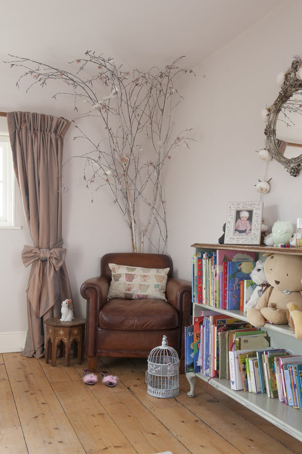 """""""I picked up some made-to-measure curtains at a great price on sale and then took them apart and reused the fabric to make thick interlined, blackout pinch pleat versions for the girl's bedrooms."""""""