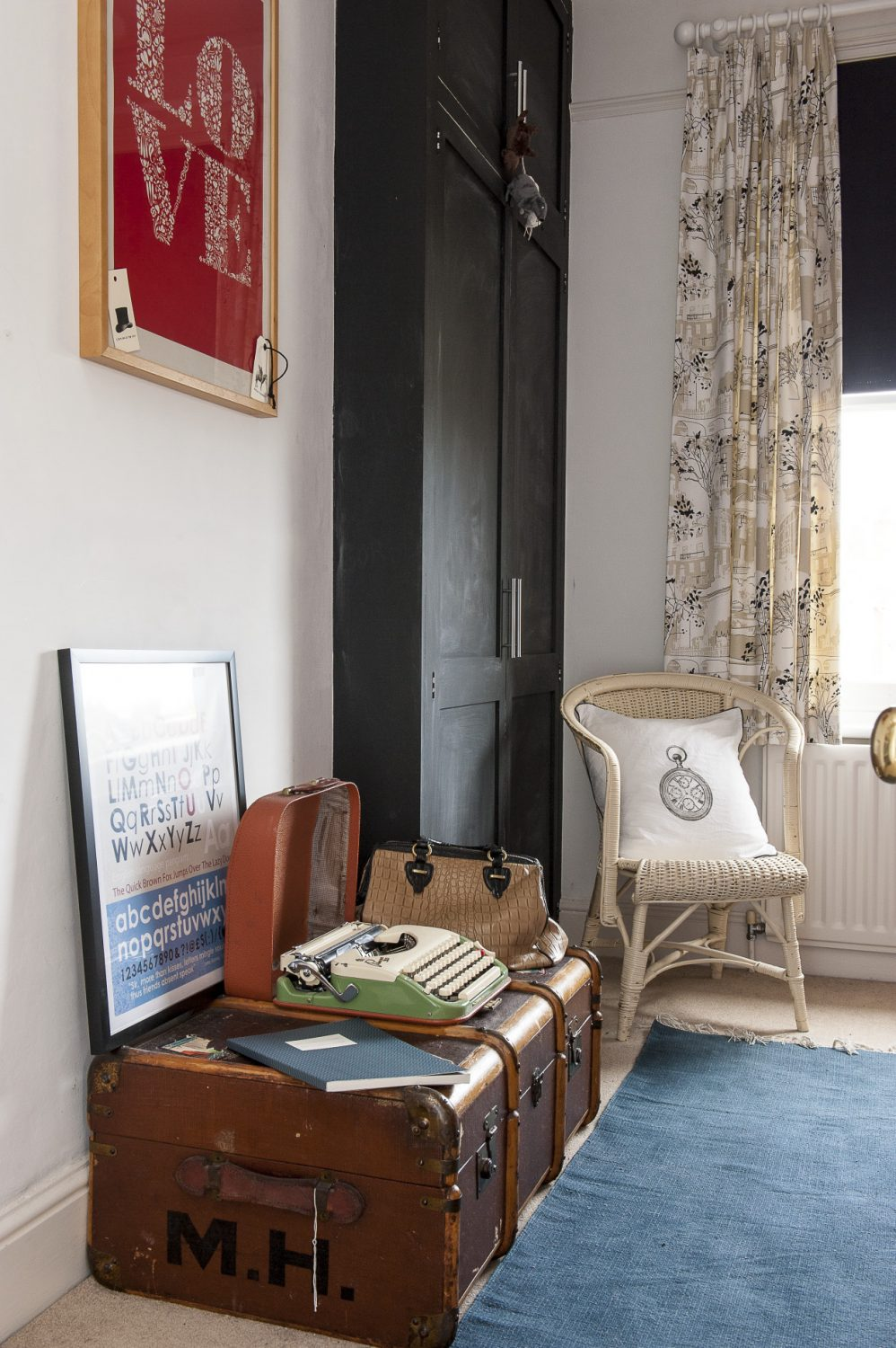 Pride of place in Phoebe's room is an old leather trunk topped with a classic 1960s Princess 300 portable typewriter made by Keller and Knappich that she specifically asked for as a Christmas present