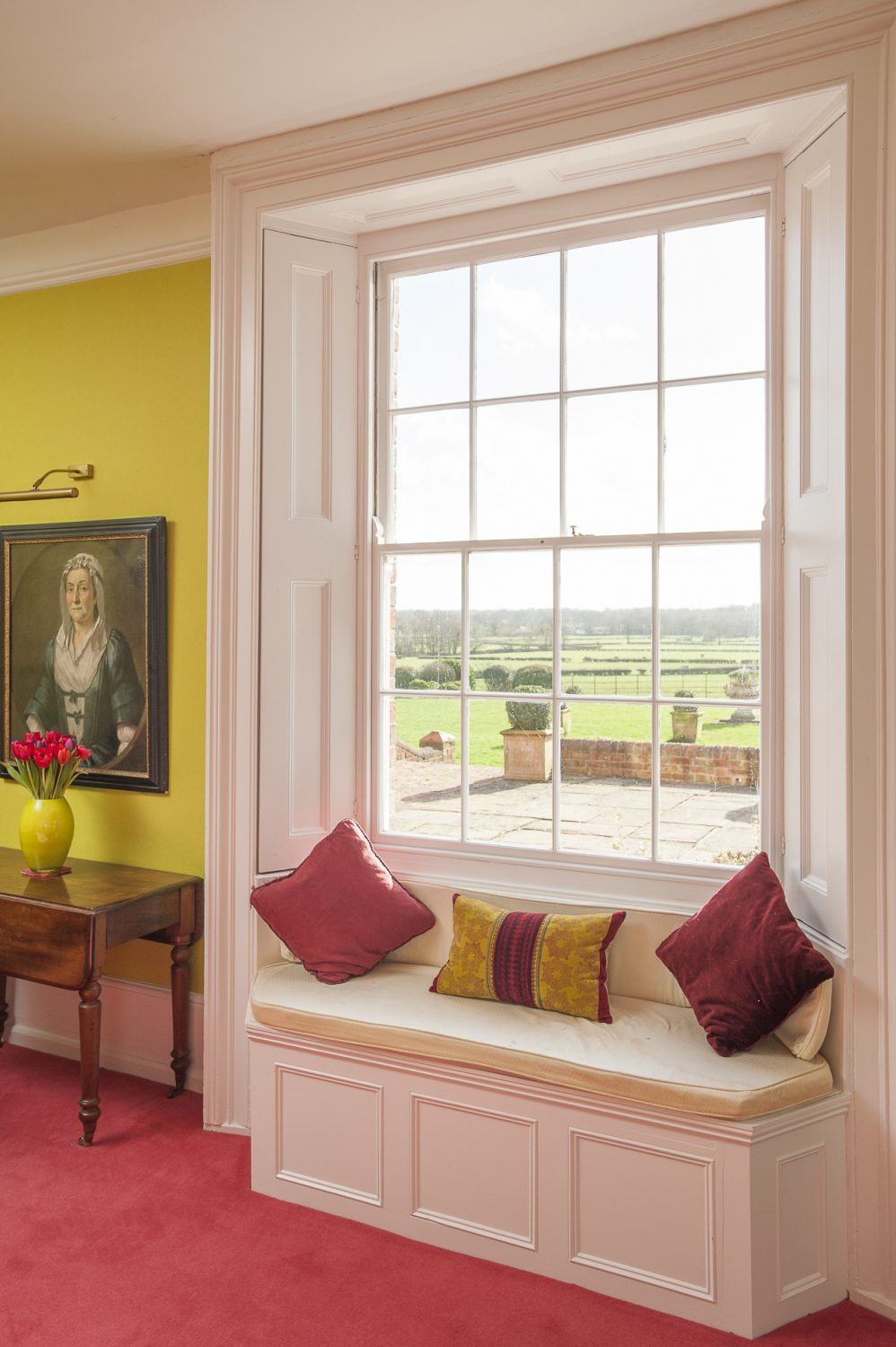 The window seat provides the ideal spot to enjoy beautiful views over rolling countryside