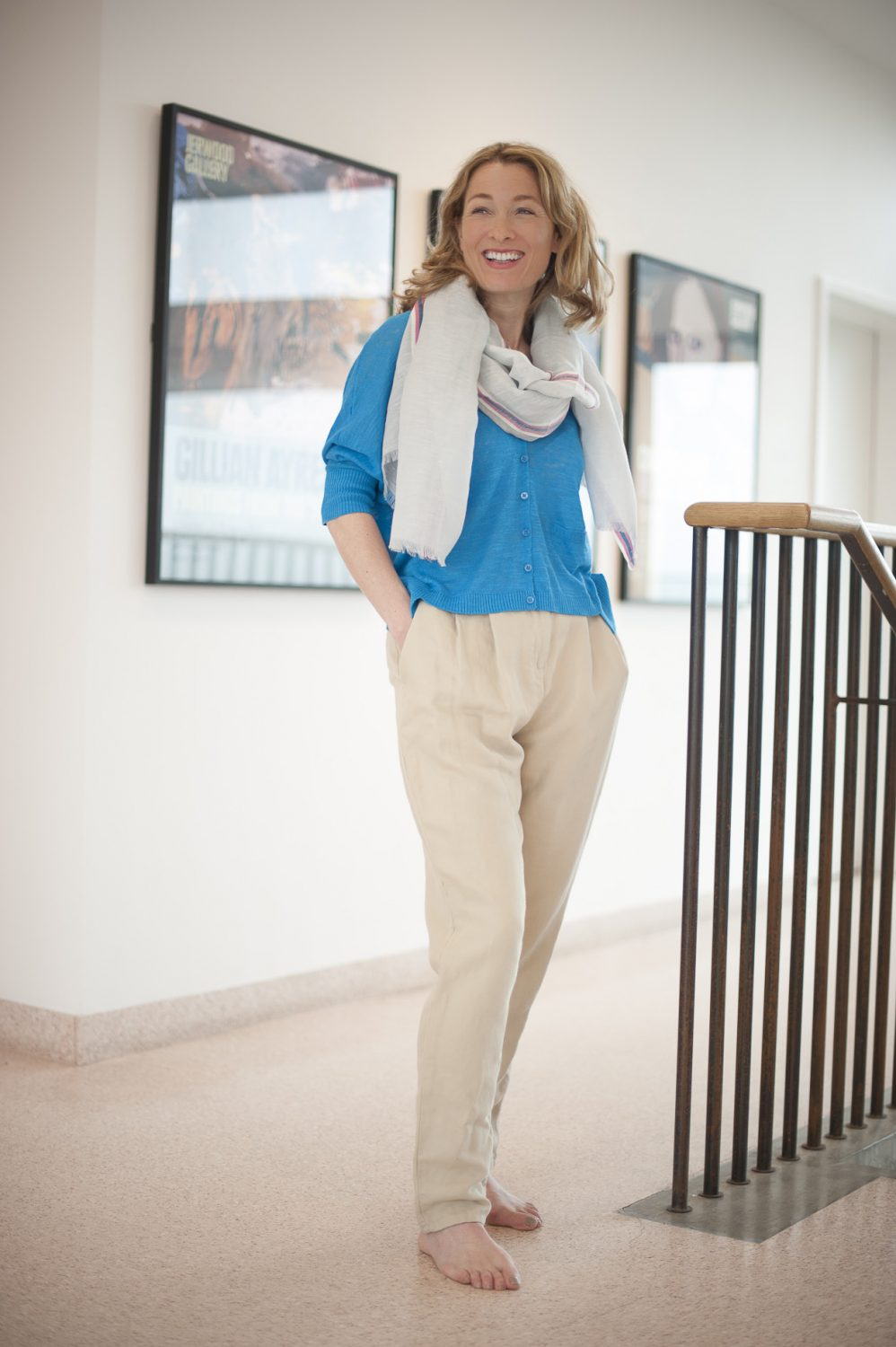 erse turquoise cardigan, £89, Otto D'ame beige chino trousers, £139, Who's Wearing What Boutique, St Leonards-on-Sea 01424 272925 www.whoswearingwhat-boutique.co.uk; Seasalt scarf, £29.95, Charity Farm Countrystore, Cranbrook 01580 713189 www.charityfarmcountrystore.co.uk