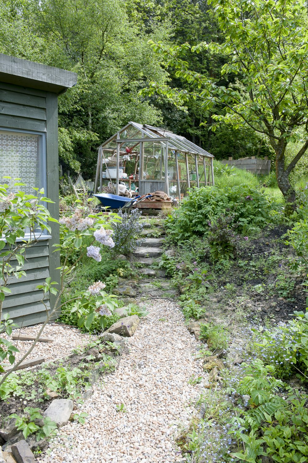 Stone steps lead up to the greenhouse