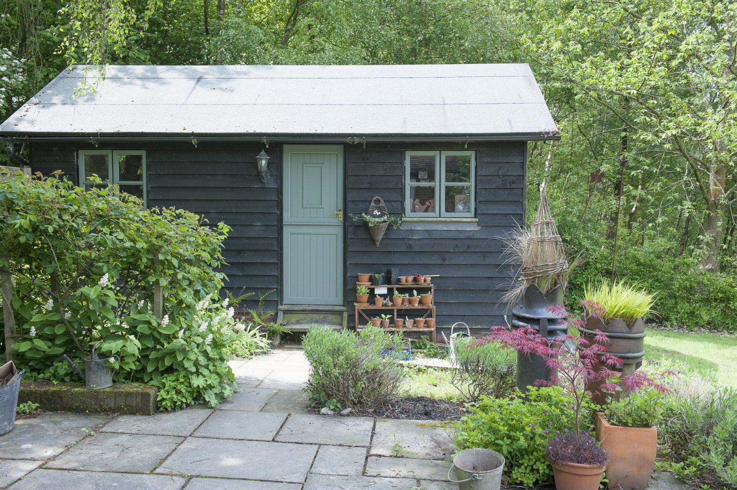 Rob's office is a handsome timber clad building, painted dark brown, which looks very effective amid the creams and greens of the surrounding plants