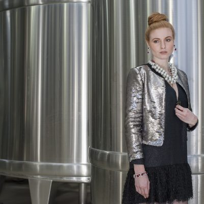 Ted Baker silver sequin jacket, £175, McArthur Glen Ashford Designer Outlet www.ashforddesigneroutlet.com; Baum Und Pferdgarten 'Akeen' dress, £279, Odyl, Cranbrook 01580 714907 www.odyldesign.com; Austrian Crystal necklace, £225, Austrian Crystal bracelet, £115, Austrian Crystal earrings, £115, 1960s necklace, £95, Eclectica Vintage Jewellery 020 7607 6327 www.wealdenfairs.com/eclecticajewelleryltd / www.eclectica.biz; Perfecta pearl necklace, £25, Who's Wearing What Boutique, St Leonards-on-Sea 01424 272925 www.whoswearingwhat-boutique.co.uk; Raspberry ring, £40, Bill Skinner, Tenterden / Otford 01959 525505 www.billskinnerstudio.co.uk
