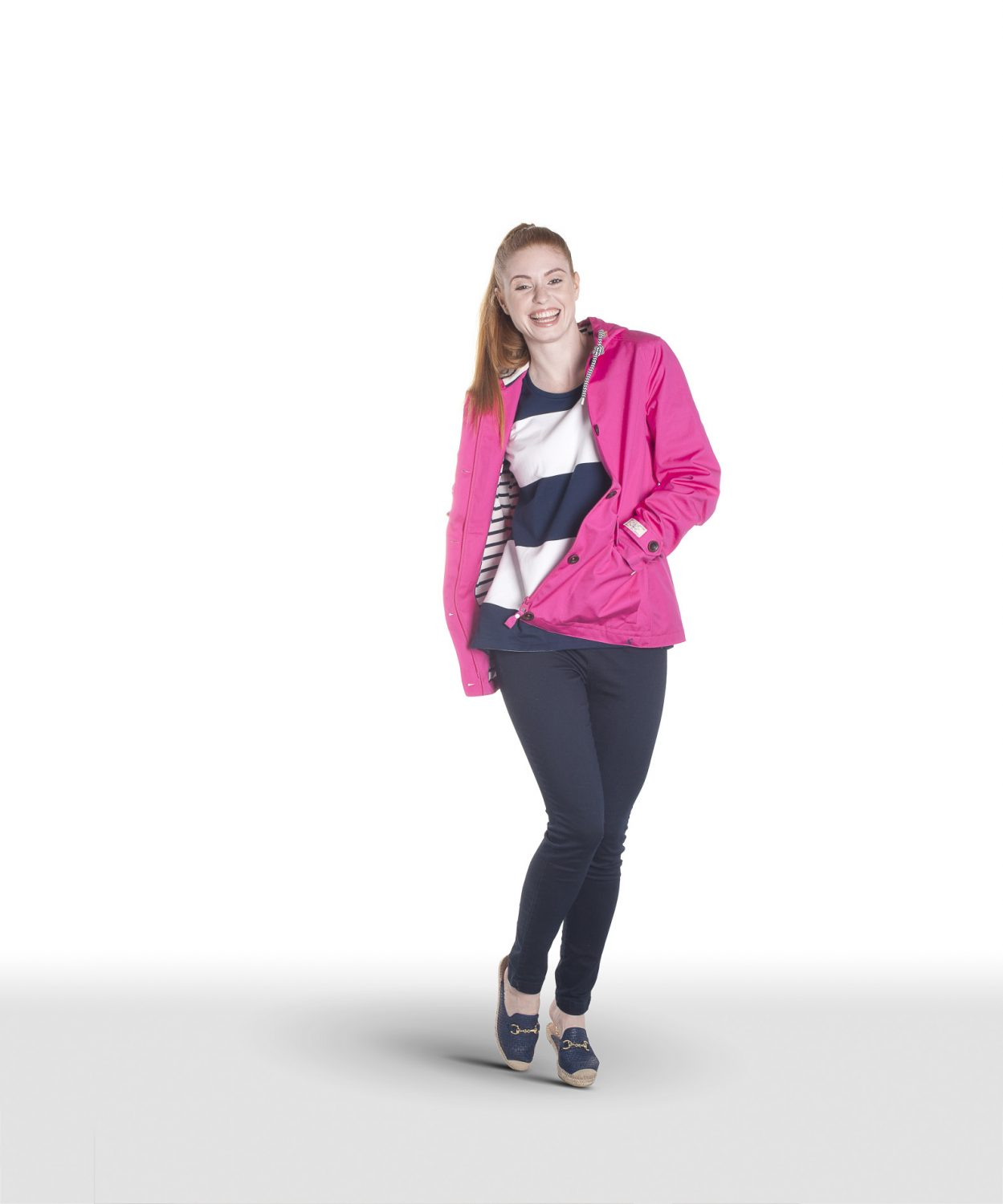 Joules pink jacket, £84.95, stripe sweatshirt, £54.95, Seasalt jeggings, £45, Charity Farm Countrystore, Cranbrook charityfarmcountrystore.co.uk 01580 713189; Kanna mules, £75, The Golden Boot, Maidstone thegoldenboot.co.uk 01622 752349